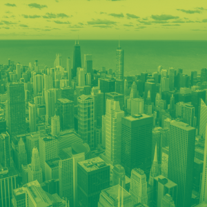 Picture of skyscrapers in duotone