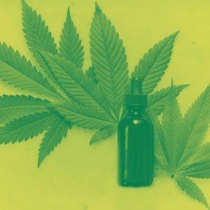 green duotone image of cannabis leaf and oil dropper bottle
