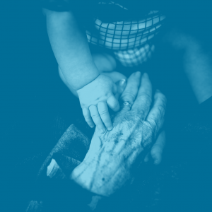 Blue duotone elderly hand holding a baby's hand