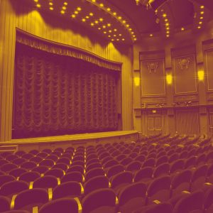 Theatre stage with empty seats